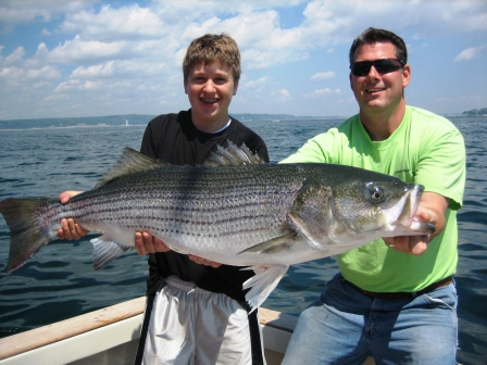 Striped Bass caught by the Kirkwood family aboard Tuna Hunter Fishing Charters