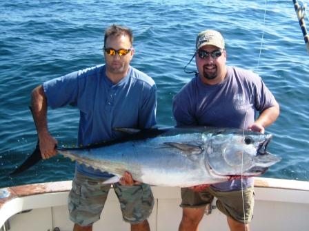 40th Birthday Bash - Rob and friends on a birthday charter tackled this bluefin, their first, and retained it for the birhtday party..  They tagged the next 3 fish!