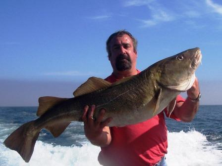 Kevin's 35lb Cod caught on Tuna Hunter cod fishing out of Gloucester, MA